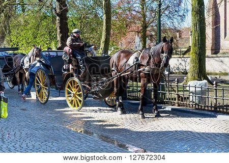 Bruges, Belgium - April 10, 2016:  Fiaker with brown horse waiting for tourists in popular belgian destination Brugge, Belgium