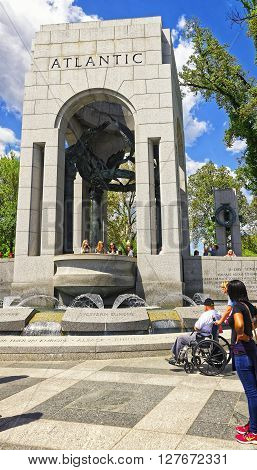 War Veteran In National World War 2 Memorial Atlantic Arch
