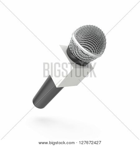 Microphone with blank space box isolated on white background with shadow. 3D illustration