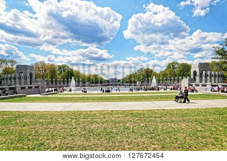 War Veterans In National World War 2 Memorial In Spring