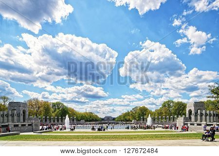 War Veterans In National World War Second Memorial In Spring