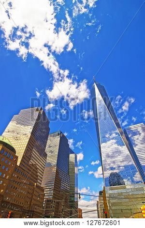 New York USA - April 24 2015: World Financial Center and Freedom Tower in Financial District in Lower Manhattan New York USA