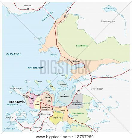 administration vector map of the Icelandic capital Reykjavik