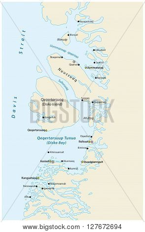 map of Disko Bay on the west coast of greenland
