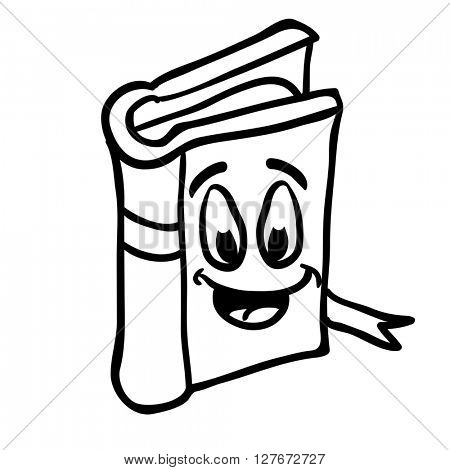 black and white book smiling cartoon illustration