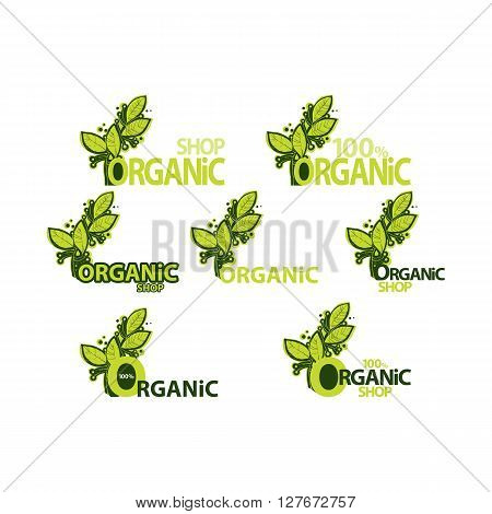 organic shop. set of logos with green leaves. seven different elements of design for packaging of ecological products