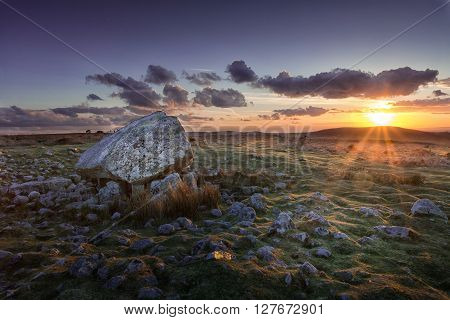 Arthur's stone at sunset A landmark on the top of Cefn Bryn, North Gower, South Wales, Swansea.