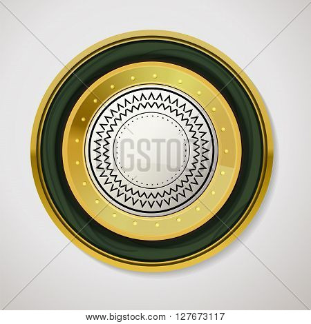 Gold label for promo seals. Quality sticker with glossy and wood texture. Vector circle emblem on white background. Vintage circle gold shape with green border and place for text. Web label