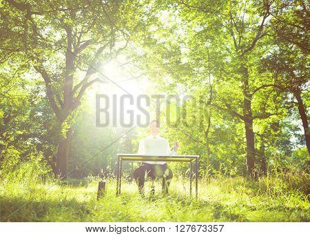Green Business Outdoors Environment Concept