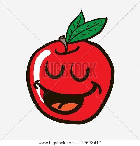 freehand drawn happy apple cartoon illustration