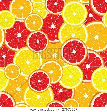 Vector seamless background of lemon, orange, grapefruit slices.