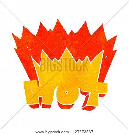 freehand drawn retro cartoon word hot