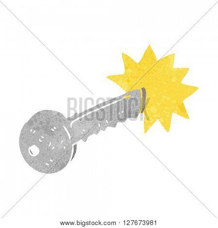 freehand drawn retro cartoon door key