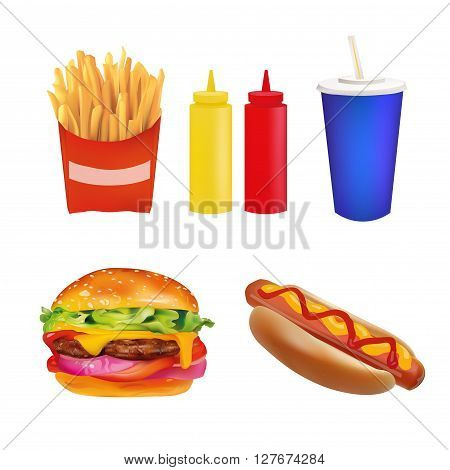Vector Realistic fast Food Set. Burger Beverage Coffee French Fries Hot Dog Ketchup Mustard. Isolated On White background Icons