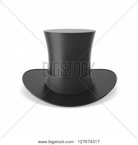 Top hat with black ribbon isolated on white background. 3D illustration