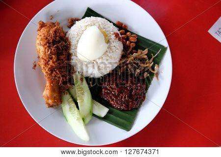 Nasi Lemak / most famous breakfast in Malaysia