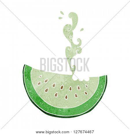 freehand drawn retro cartoon melon slice