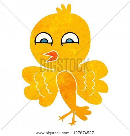 freehand drawn retro cartoon bird