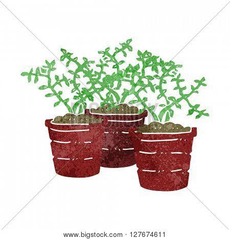 freehand drawn retro cartoon potted plants