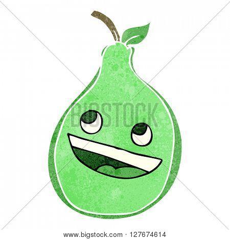 freehand drawn retro cartoon pear