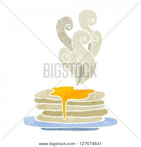 freehand drawn retro cartoon stack of pancakes