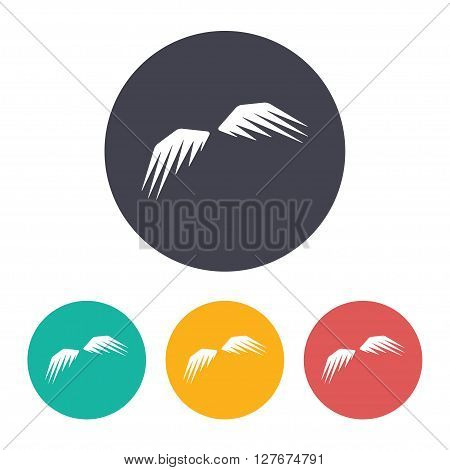 Vector flat wings icon with set of 3 colors