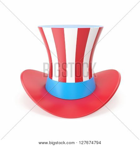 Uncle Sam's hat. Symbol of freedom and liberty. Isolated on white background. 3D illustration