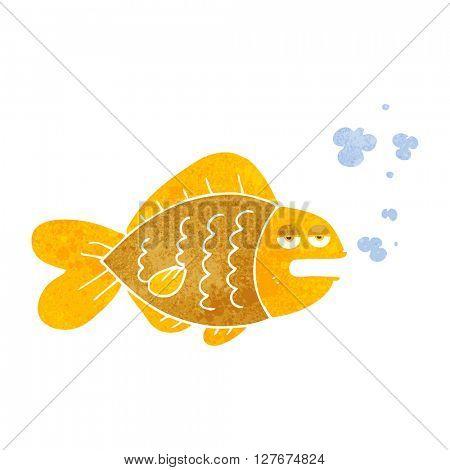 freehand drawn retro cartoon funny fish