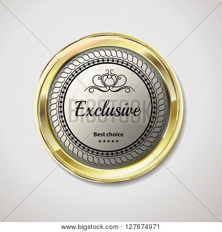 Vip exclusive gold label. Reliability and comfort. White glossy stone in gold. Vector vintage label with text on black background