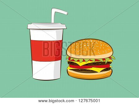 vector illustration of hamburger with cola drink fast food concept eps 10