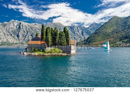 Perast.insulae Santa George in Montenegro on the Adriatic Sea 