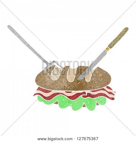 freehand drawn retro cartoon knife and fork cutting huge sandwich
