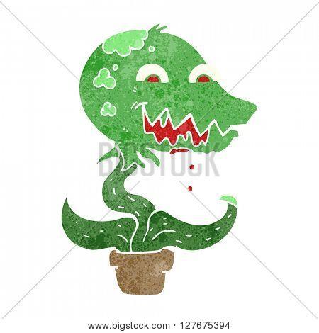 freehand drawn retro cartoon monster plant