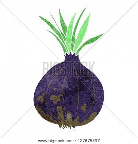 freehand drawn retro cartoon onion
