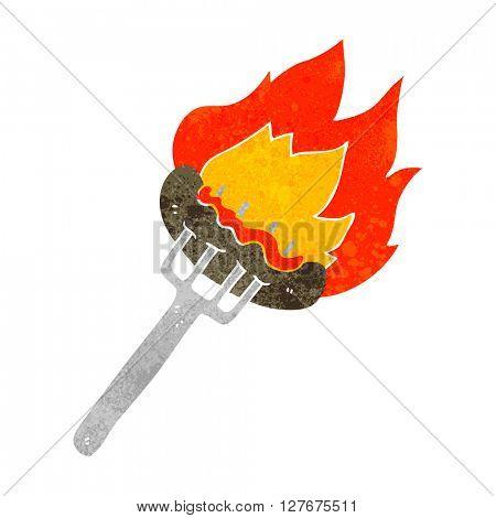 freehand drawn retro cartoon sausage on fork