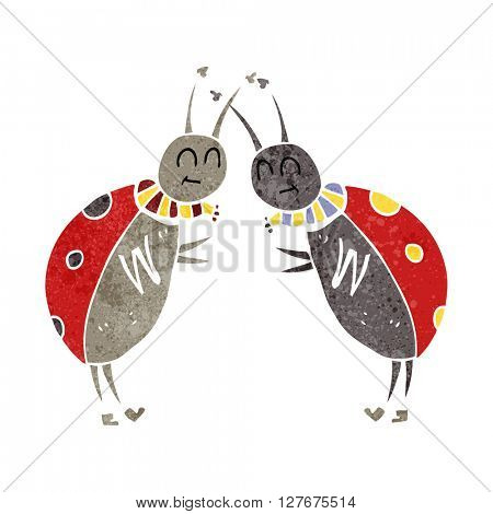 freehand drawn retro cartoon ladybugs greeting