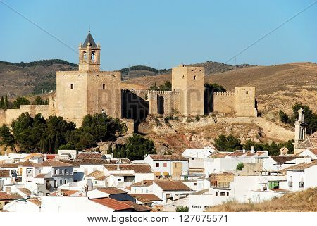 Castle fortress with townhouses in the foreground Antequera Malaga Province Andalucia Spain Western Europe.