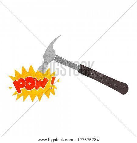 freehand drawn retro cartoon hammer