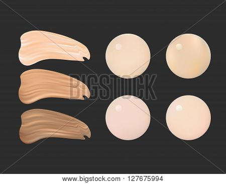 Vector Illustration of Color Shades Palette For Foundation Make Up.