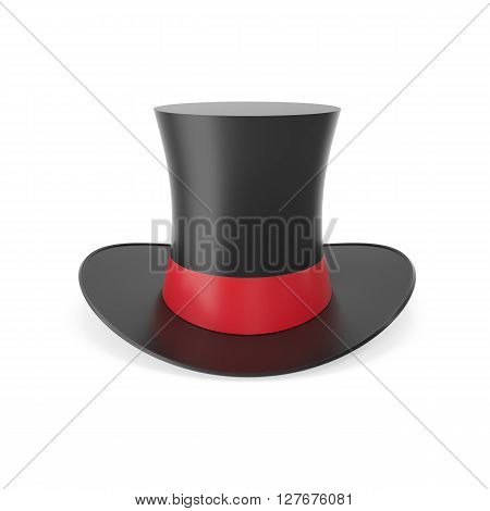 Top hat with red ribbon isolated on white background. 3D illustration