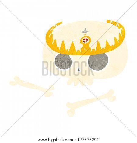 freehand drawn retro cartoon skull wearing tiara
