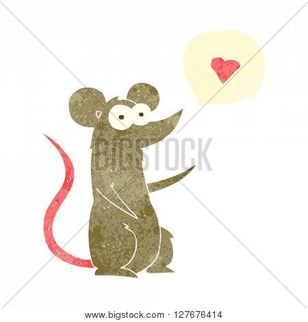 freehand drawn retro cartoon mouse in love