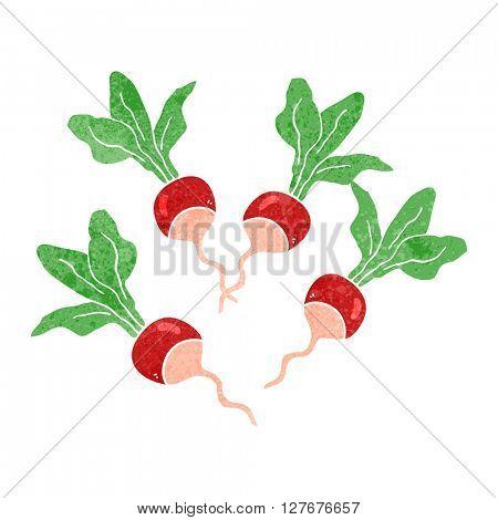 freehand drawn retro cartoon radishes