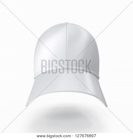 Realistic white baseball cap isolated on white background. 3D illustration
