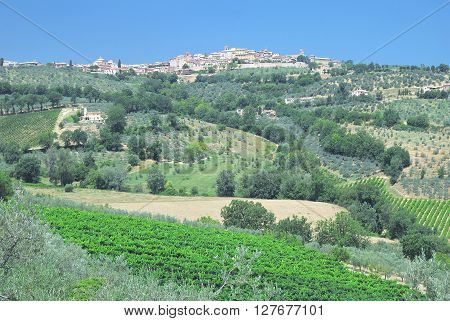 medieval Village of Montefalco in Umbria near Assisi and Perugia,Italy