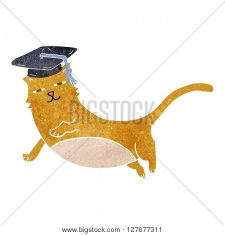 freehand drawn retro cartoon cat with graduate cap