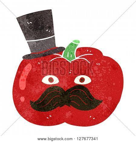 freehand drawn retro cartoon posh tomato