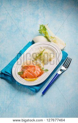 salmon carpaccio with sliced fennel salad