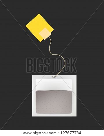 Tea Bag Illustratio with Labels In Round Rectangle Square Pyramid Shapes. Vector Template Illustration For Your Design. Isolated On White Background.