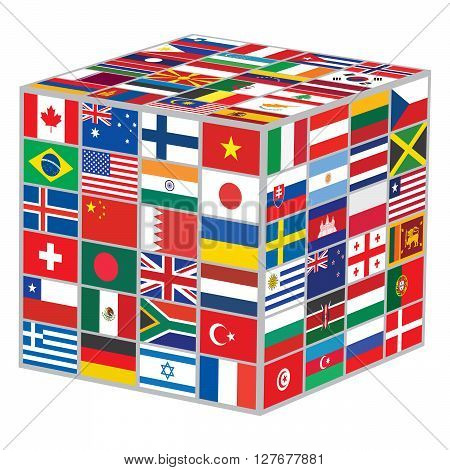 cube with some of world flags vector illustration